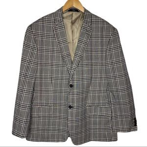 Haggar 44S Navy Plaid 2 Button Sport Coat